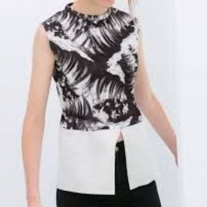 ZARA black and white peplum top BRAND NEW